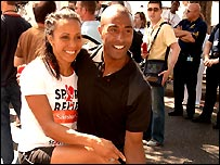 Kelly Holmes and Colin Jackson at the start of the Sport Relief Mile in London