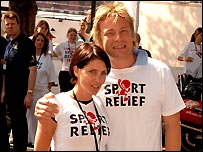 Sadie Frost and Jamie Oliver in action in London