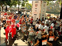 Thousands of Milers start the Sport Relief Mile on the Embankment in London