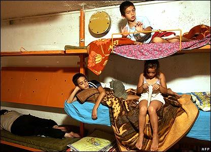 Children in bomb shelter