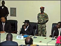Uganda government representative Ruhakana Rugunda, southern Sudan president Salva Kiir and LRA delegation head Martin Ojul