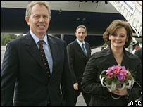 Tony and Cherie Blair arriving at St Petersburg airport