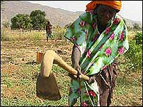 Woman with digging stick, Mali