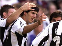 Albert Luque of Newcastle celebrates his goal during the Intertoto Cup 3rd round match between Newcastle United and Lillestrom