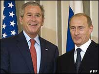 George W Bush (left) and Vladimir Putin on 15 July