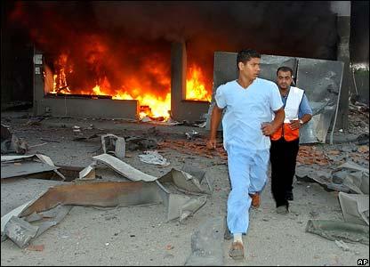 Burning petrol station in Sidon
