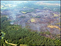 Aerial view of Thursley Common (from Surrey Police)