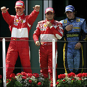 Michael Schumacher (left) Felipe Massa (centre) and Fernando Alonso