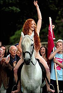 Phoebe Thomas riding through Oxford as Lady Godiva