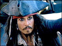Pirates stars Johnny Depp as Captain Jack Sparrow