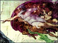 Michelangelo's fresco Creation of Adam is one of the paintings on the ceiling of the Sistine Chapel