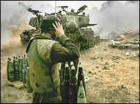 Israeli artillery firing into Lebanon