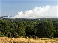 Smoke seen from Puttenham on Saturday evening (taken by Maarten Meerman)