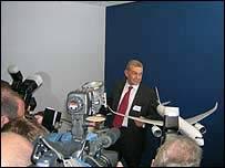 Airbus chief executive Christian Streiff faces the media scrum