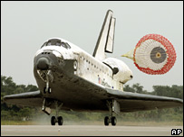 The Discovery shuttle landing at Kennedy Space Center