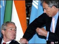 President Bush and Tony Blair at G8 summit