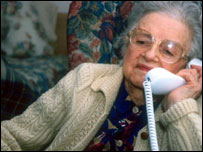 Pensioner using phone, BBC