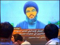 Hezbollah leader Hassan Nasrallah on television (AP)