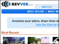 Screengrab of Revver homepage, Revver