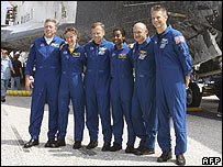 The crew outside the shuttle