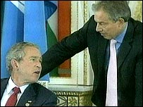 George Bush and Tony Blair at the G8 summit in St Petersburg