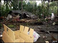 Scene of devastation in Java, Indonesia