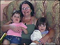 Sally Strugnell with her daughters Chloe 2 and Holly 1