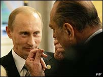 Vladimir Putin (left) with French President Jacques Chirac