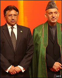 Pervez Musharraf and Hamid Karzai