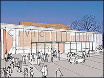 Artist's impression of how the new Guildford Civic could look (Bennetts Associates Architects)