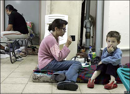Israeli family in a Haifa shelter