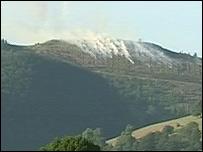 Gorse fire at Coedwig Llangwyfan