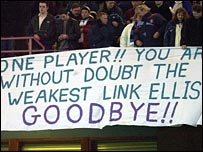 Anti-Ellis banner at Villa Park