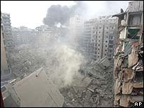 Hezbollah headquarters in southern Beirut after an Israeli strike