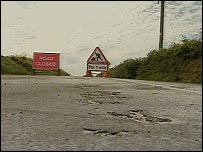 Road closed after surface melts