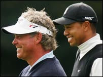 Darren Clarke (left) and Tiger Woods