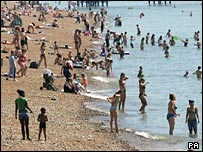 Crowded Brighton beach on Tuesday