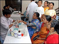 Indian people complete preliminary examinations before giving blood