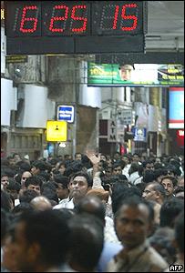 Estación de tren de Churghgate en Bombay a las 6.25pm.