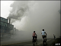 Air pollution from a factory in north-eastern China - file photo