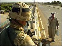 Soldier at checkpoint in Iraq