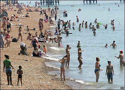 Crowds on Brighton beach on Tuesday