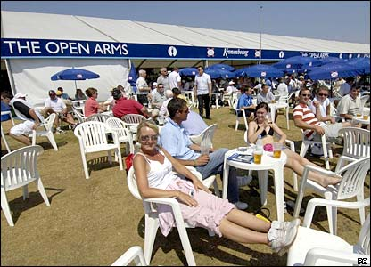 Beer tent at the Open golf at Hoylake
