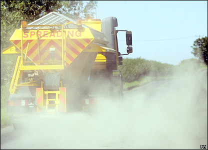 Gritter lorry on melting road in Cumbria