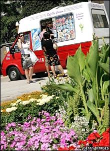 Ice cream van in a park