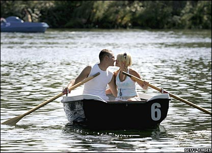 Couple in a rowing boat on the Serpentine in Hyde Park, London
