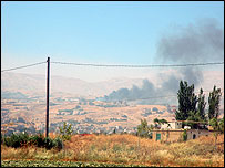 Smoke rises over Zahle in western Bekaa valley (Photo by Martin Asser)