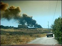 Smoke of bombed vehicle near Zahle (Photo by Martin Asser)