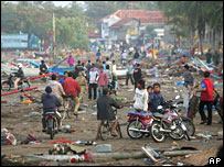 People in Pangandaran, Java, one of the worst-affected areas