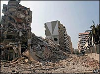 Destroyed and damaged buildings in Beirut suburbs